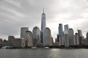 Skyline of downtown with Skyscrapers on waterfront, usa, manhattan, New York city
