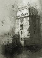 belem tower, aged fortification on water, digital art, portugal, lisbon