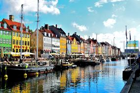 colorful buildings on the canal in Copenhagen, Denmark