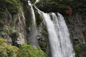 photo of a waterfall on the volcanic Jeju island