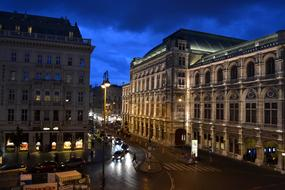 street in historical center of city at night, Austria, Vienna