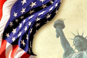 wavy american flag and statue of liberty, drawing, background