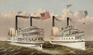 vintage steam ships drawing