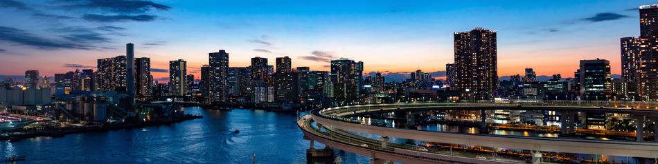 Rainbow Bridge at night city, japan, Tokyo