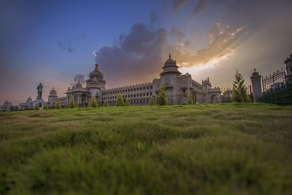 ancient palace in Bangalore, India on the landscape with the grass
