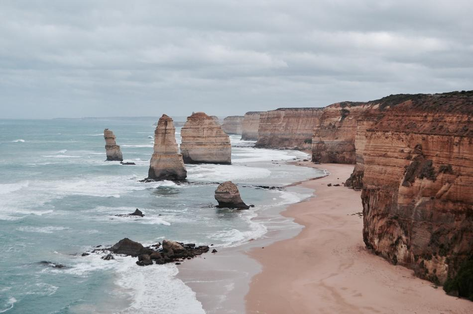 cloudy sky over the rocks twelve apostles in australia
