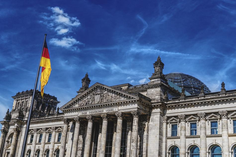 flag in front of Bundestag building, germany, Berlin