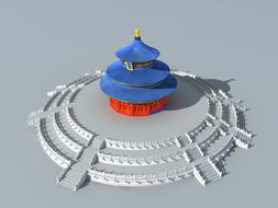 heaven temple china 3d drawing