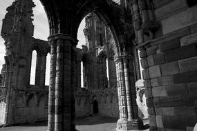 Whitby Abbey Ruins black white