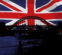 union jack flag and bridge