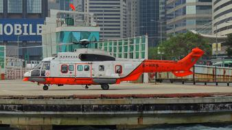 Hongkong Helicopter Asian red white