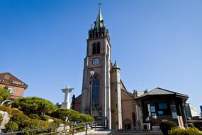 Myeongdong Cathedral Seoul blue sky