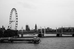 black and white picture of London, UK