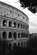 Coliseum Italy black and white