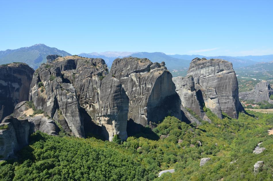 Meteora Greece Cliff and green trees
