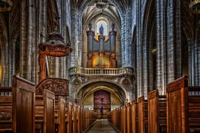 ornate interior of roman catholic Cathedral, france, Bourg-en-Bresse