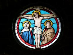 church window with crucified Jusus