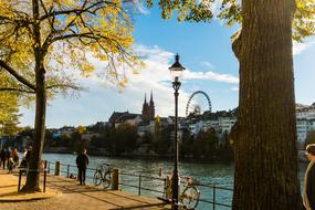 embankment of old city at Autumn, Switzerland, Basel