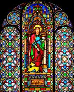 saint with dog, Church Window, stained Glass