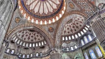 beautiful Ceiling Blue Mosque Istanbul