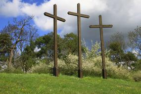 three crosses outside