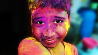 Holi India face color
