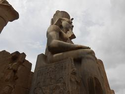 Statue Of Ramesses II at clouds, Egypt, luxor