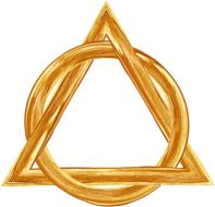 holy triangle circle gold drawing