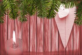 christmas wood candle banner drawing