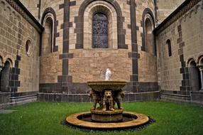 Photo of the fountain in front of Maria Laa Abbey in Gles, Germany
