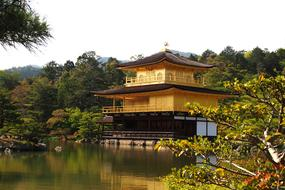 Gold Temple Kyoto and river