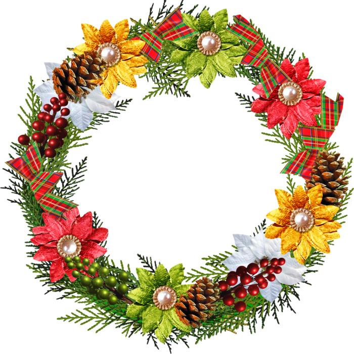 wreath with pine cones and flowers, christmas decoration