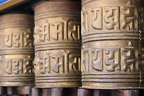 Beautiful prayer wheels in Kathmandu, Nepal