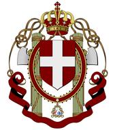 Crest coat of arms with the crown and cross at white background