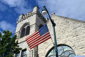American Flag and church