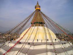 Nepal Buddhism Stupa roof and flags