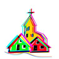 village church house graphic color drawing