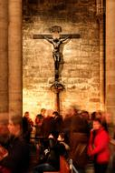 Paris Church cross and people