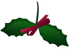 christmas holly ribbon and leaf