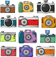 painted collage of multi-colored photo cameras