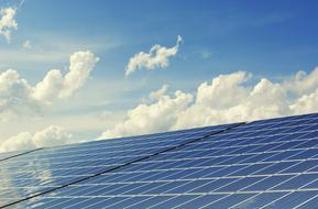 bright sky above Photovoltaic System
