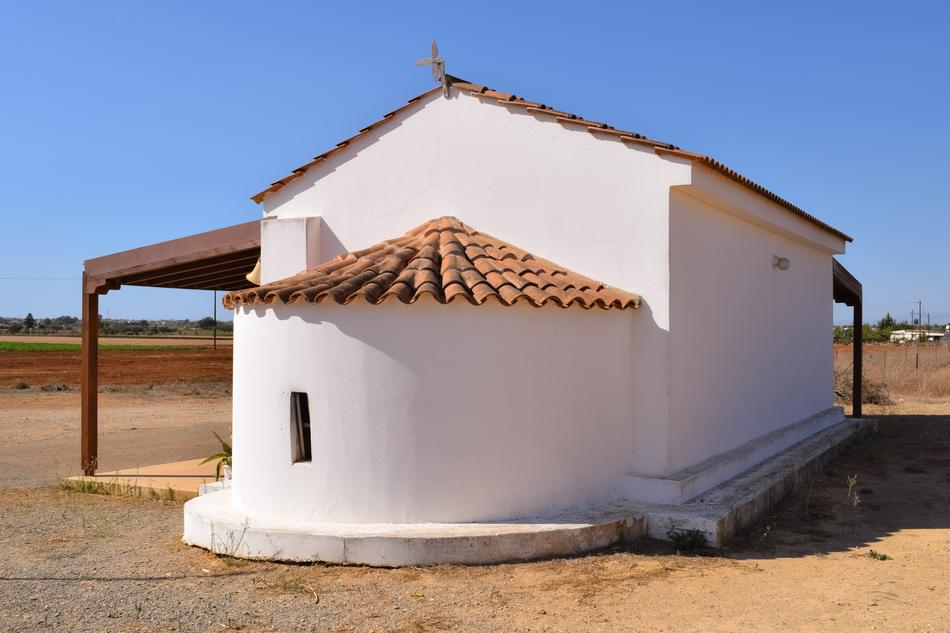 White Church in the countryside in Avgorou, Cyprus