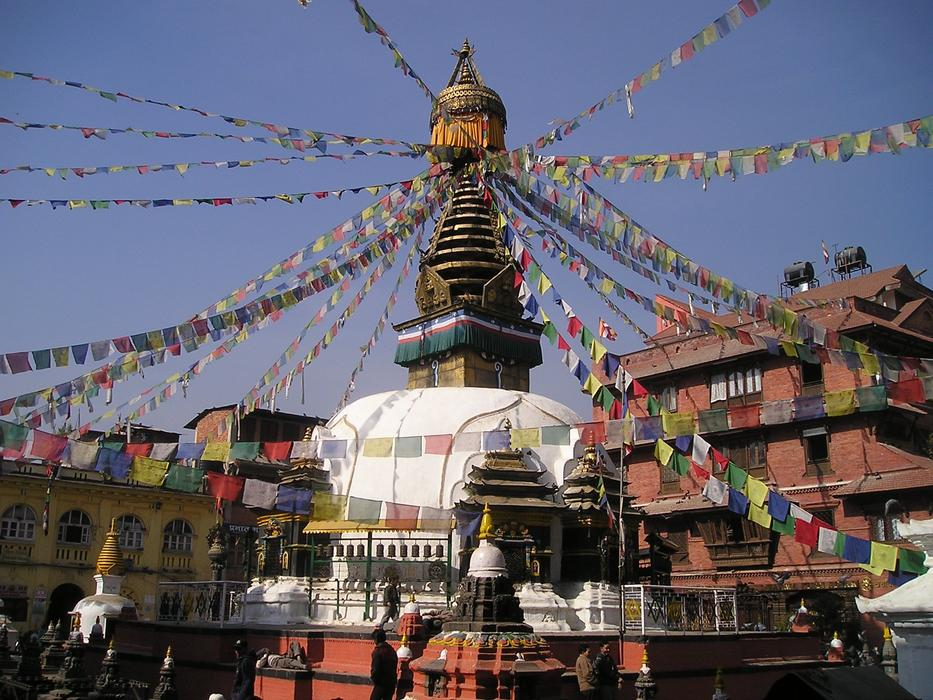 Beautiful stupa with colorful prayer flags in Nepal