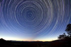 Star Trails at Night sky, Long Exposure