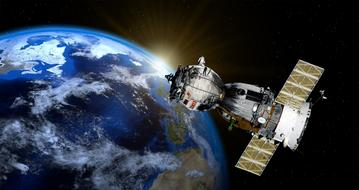 Satellite Soyuz in the space