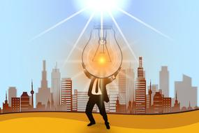 cartoon person holds light bulb beneath sun in front of city