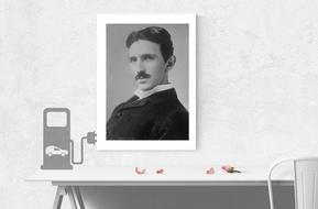 black and white portrait of tesla inventor