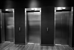 elevators in the lobby as modern technology