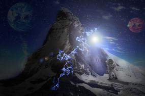 Fantastic image of astronaut against a snow mountain in space