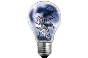image of an electric tower and lightning in an electric lamp